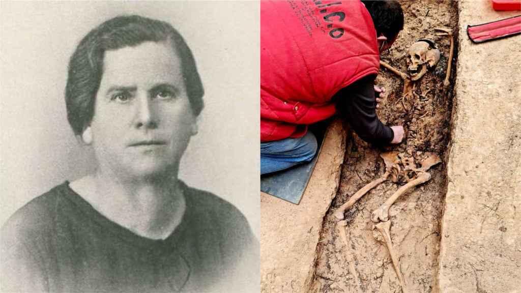 Retrato de María Domínguez y exhumación de su cuerpo.