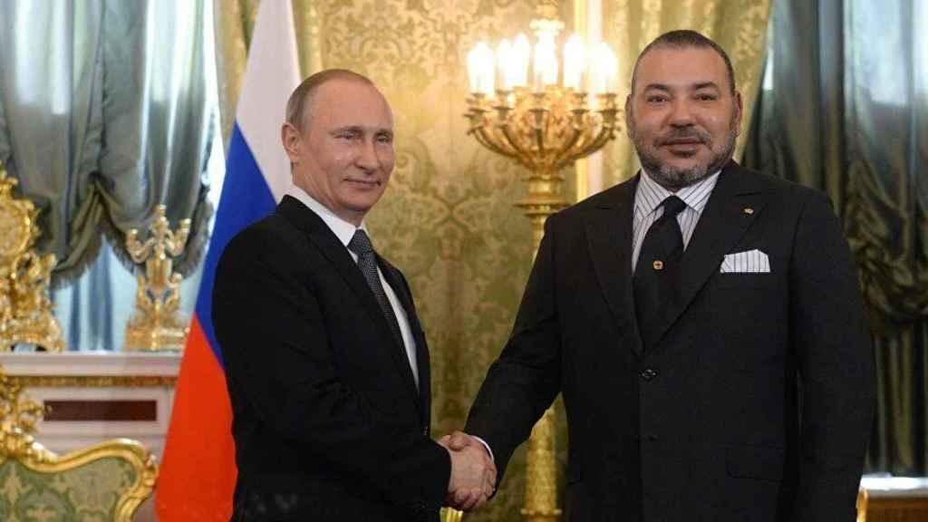 El presidente de Rusia, Vladimir Putin, y el monarca marroquí, Mohamed VI, en 2016.