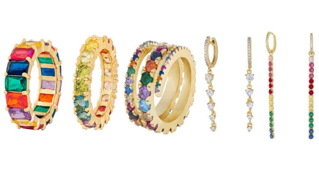 Las joyas de Glab Jewels dispuestas por orden de aparición en el artículo.