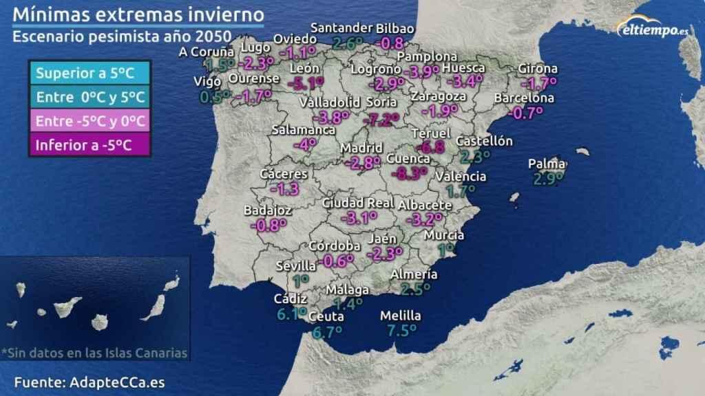 Mapa mínimas extremas invierno 2050.