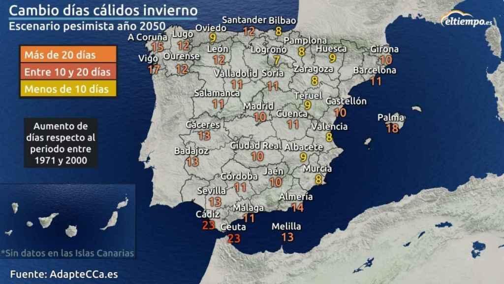 Mapa cambio días cálidos invierno 2050.