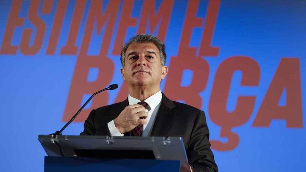 Joan Laporta, durante un acto de la campaña electoral