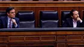 Sánchez e Iglesias, en la bancada azul del Gobierno.