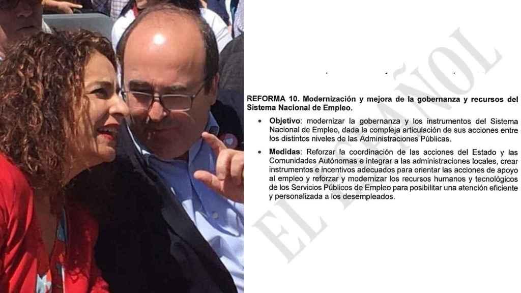 La ministra de Hacienda, María Jesús Montero, y el de Política Territorial, Miquel Iceta, durante un mitin en Montmeló.