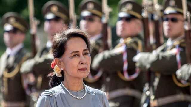 Aung San Suu Kyi, premio Nobel de la Paz, durante una visita a la República Checa.