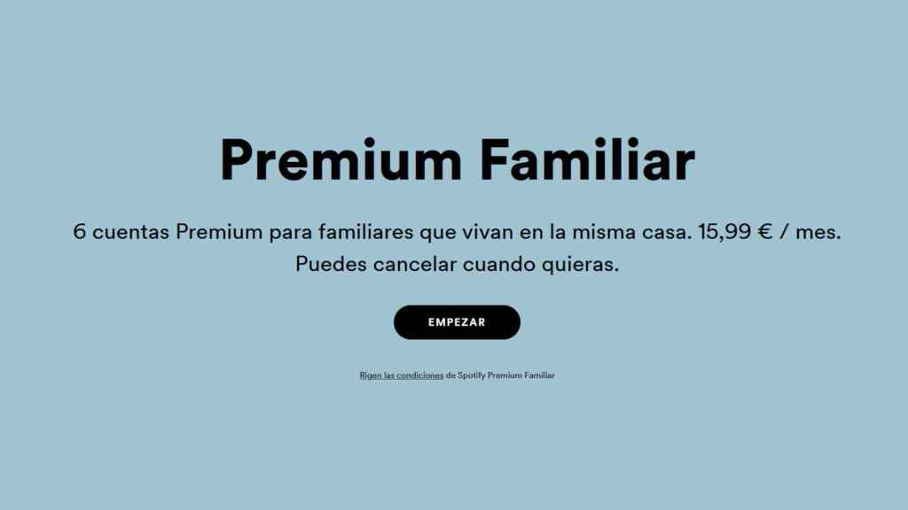 El nuevo precio de Spotify familiar ya está reflejado en la web