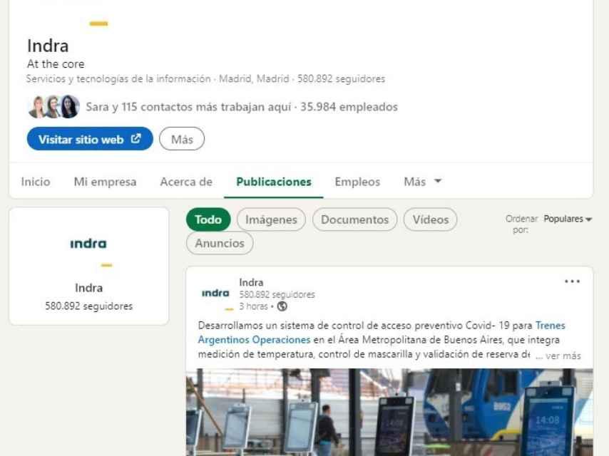 Perfil corporativo de Indra en LinkedIn
