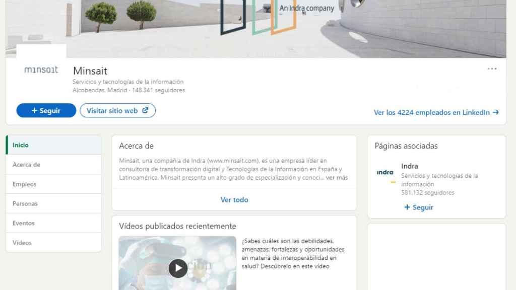 Perfil de Minsait en LinkedIn