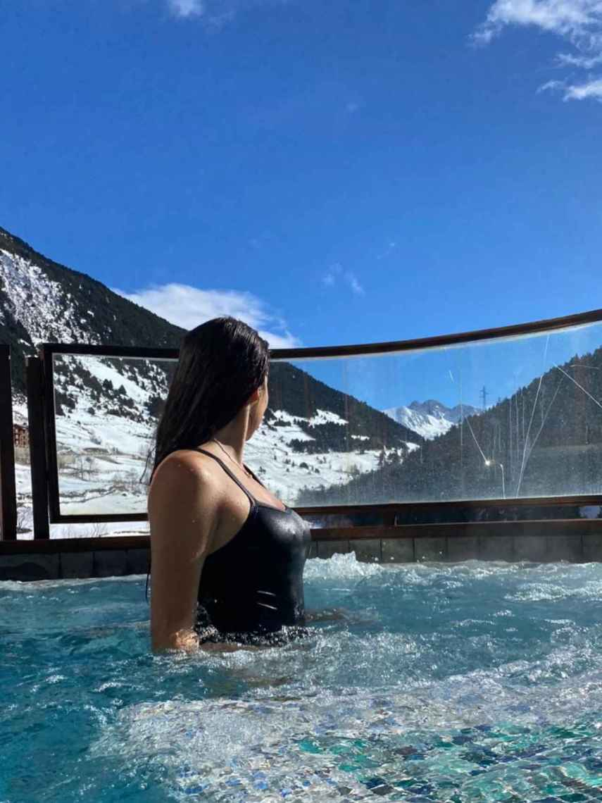 Carolina Monje, en el spa del lujoso hotel Hermitage en Andorra.