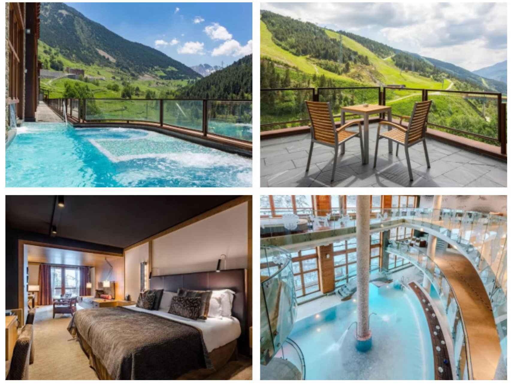 Algunas de las estancias del hotel Hermitage en Andorra.