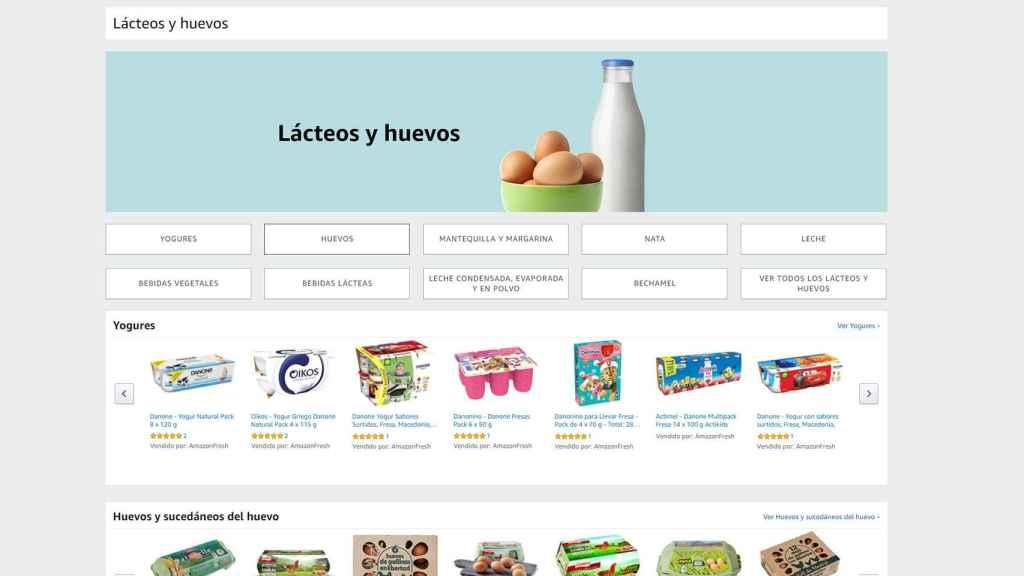 Amazon Fresh y sus subsecciones.