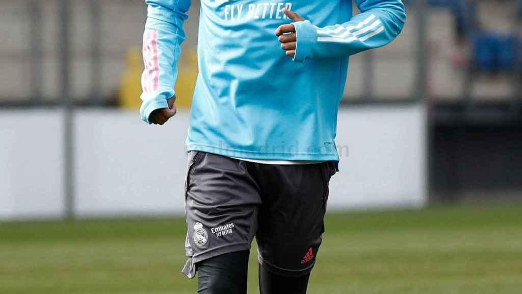 Rodrygo Goes, durante el entrenamiento del Real Madrid
