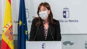 La consejera portavoz del Gobierno de Castilla-La Mancha, Blanca Fernández, este martes en rueda de prensa