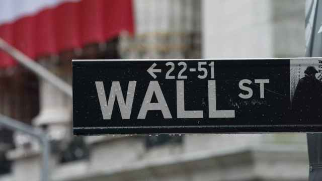 Placa de Wall Street junto a la Bolsa de Nueva York.