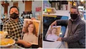 Un hostelero y un taxista posan con un retrato de la presidenta de la Comunidad de Madrid, Isabel Díaz Ayuso.