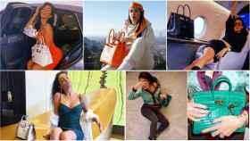 Georgina Rodríguez y algunos de sus Birkins de Hermès en un montaje de Jaleos.