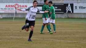 Verdejo celebrando el primer gol. Foto: UB Conquense