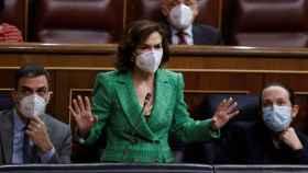 Sánchez, Calvo e Iglesias, este miércoles en el pleno del Congreso.