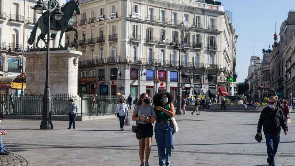 Puerta del Sol en Madrid durante la pandemia de la Covid-19.