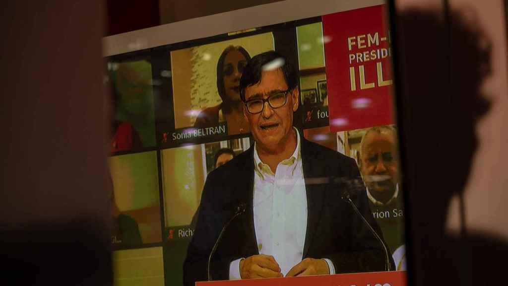 Un discurso de Salvador Illa, en Cataluña.