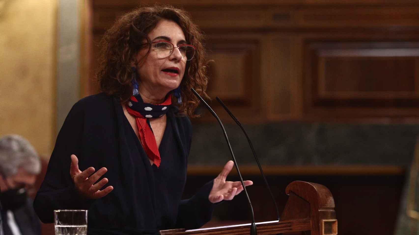 María Jesús Montero, ministra de Hacienda, en el Congreso.