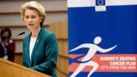 La presidenta de la Comisión, Ursula von der Leyen, durante un acto contra el cáncer el año pasado