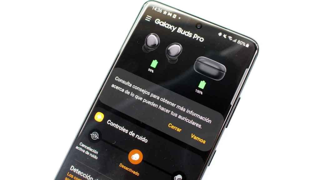 Pantalla principal de la app Galaxy Wearable.