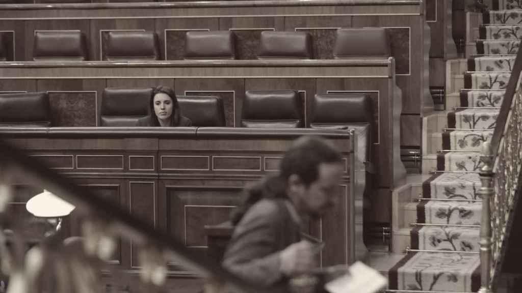 La ministra de Igualdad, Irene Montero, y el vicepresidente, Pablo Iglesias, en el Congreso.