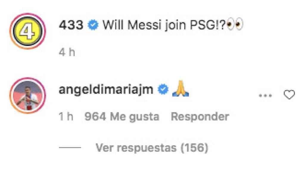 El guiño de Di María a Messi