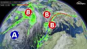 Mapa isobárico y de precipitaciones para el sábado 6 de febrero. Eltiempo.es
