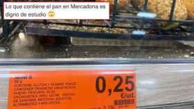 El tuit viral sobre los alérgenos del pan de Mercadona.