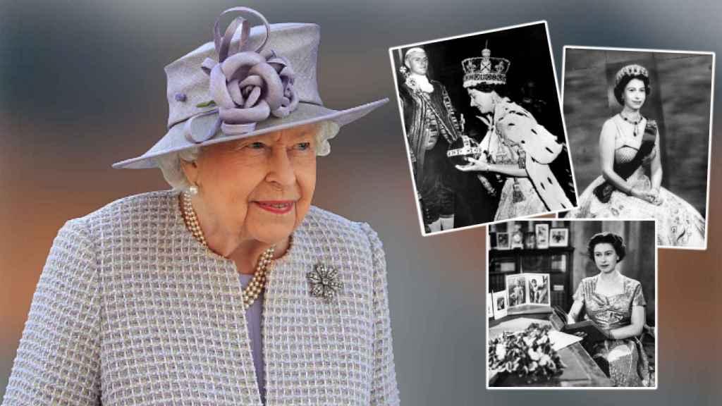 La reina Isabel, que cumple 69 años en el trono británico, en un fotomontaje de JALEOS.