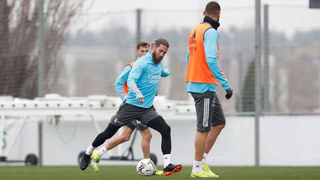 Sergio Ramos durante el entrenamiento del Real Madrid