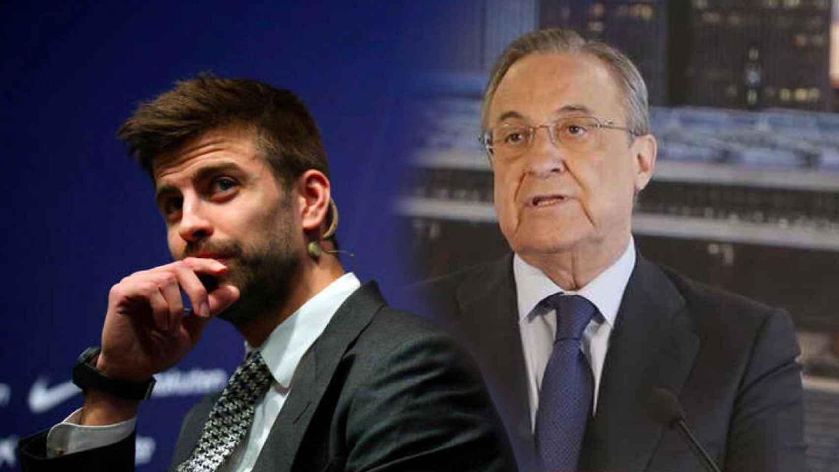 Gerard Piqué y Florentino Pérez, en un fotomontaje
