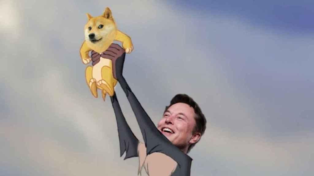 Recorte del meme publicado por Elon Musk sobre el dogecoin.