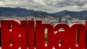 Un letrero de Bilbao.