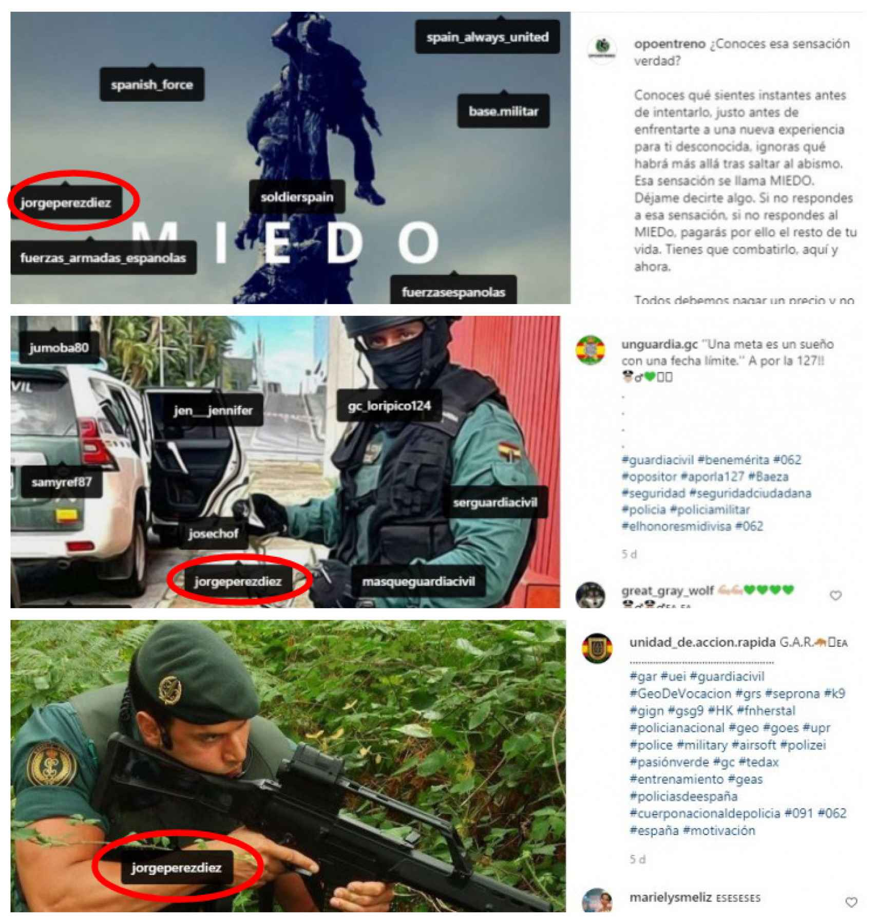 Varios grupos ligados a la Guardia Civil siguen ensalzando la figura de Jorge Pérez en su equipo.
