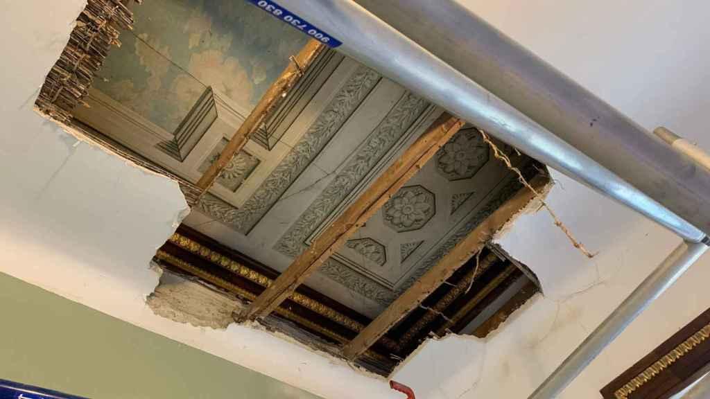 Parte del techo descubierto en el Palacio de Boadilla.