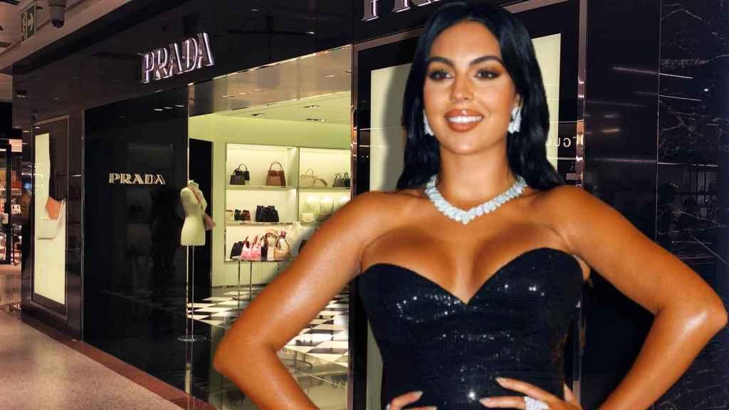 Georgina Rodríguez y la tienda de Prada donde trabajó hace cuatro años en un montaje de Jaleos.