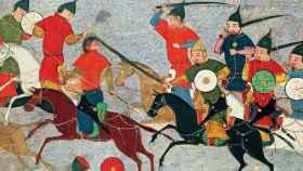 Gengis Kan y sus guerreros durante un combate contra un ejército chino.