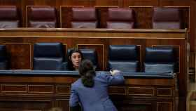Pablo Iglesias e Irene Montero en el Congreso de los Diputados.