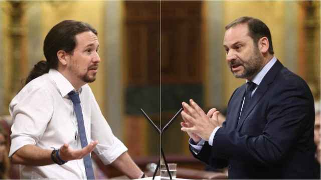 El vicepresidente segundo, Pablo Iglesias, y el ministro de Transportes, Movilidad y Agenda Urbana, José Luis Ábalos.