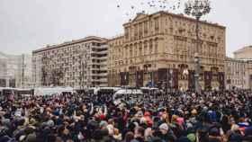 Manifestación en Moscú en protesta por la detención del opositor Alexei Navalny.