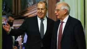 El jefe de la diplomacia de la UE, Josep Borrell, durante la reunión con Sergei Lavrov este viernes en Moscú