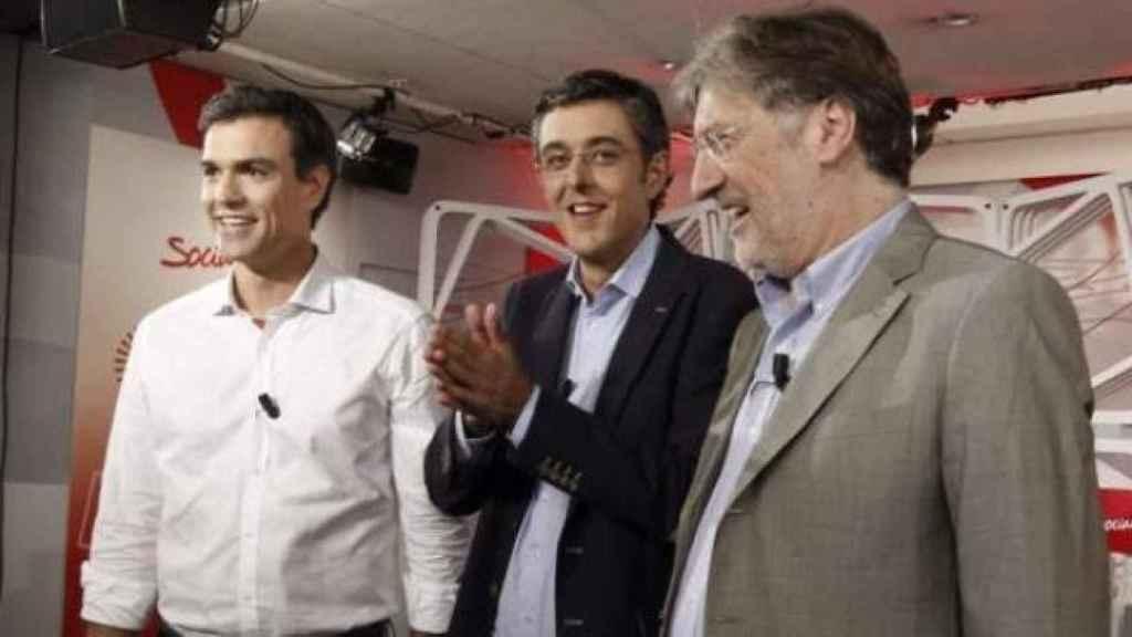 Sánchez, Madina y Pérez Tapias, durante un debate en 2014.
