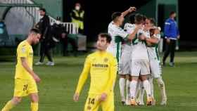 Los jugadores del Elche celebran un gol ante el Villarreal