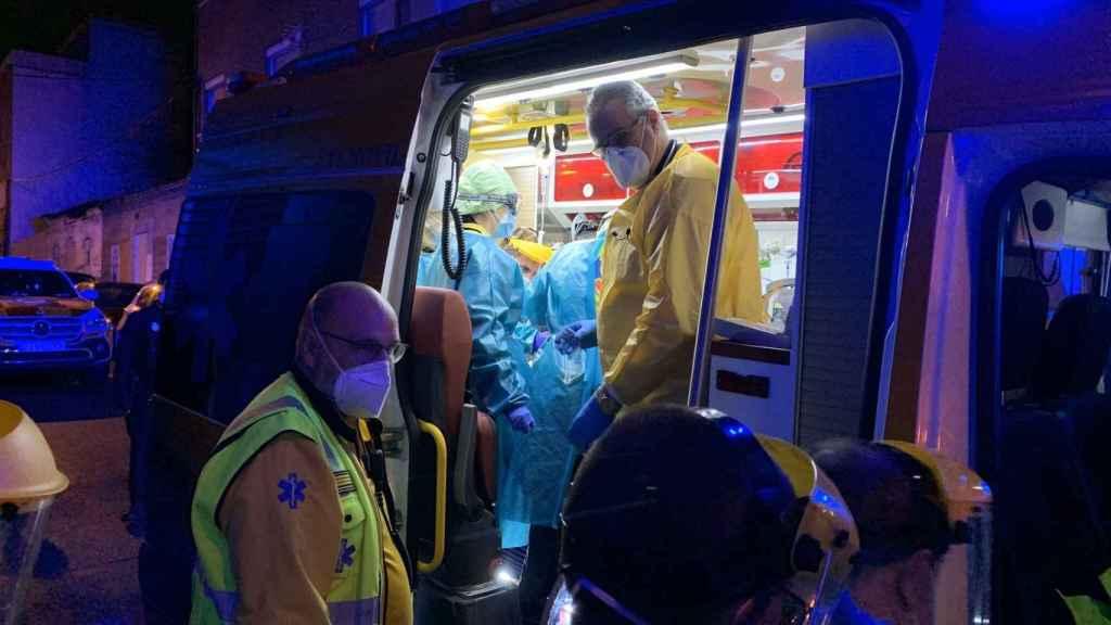 Servicios en Emergencias en el suceso ocurrido en el distrito madrileño de Puente de Vallecas.