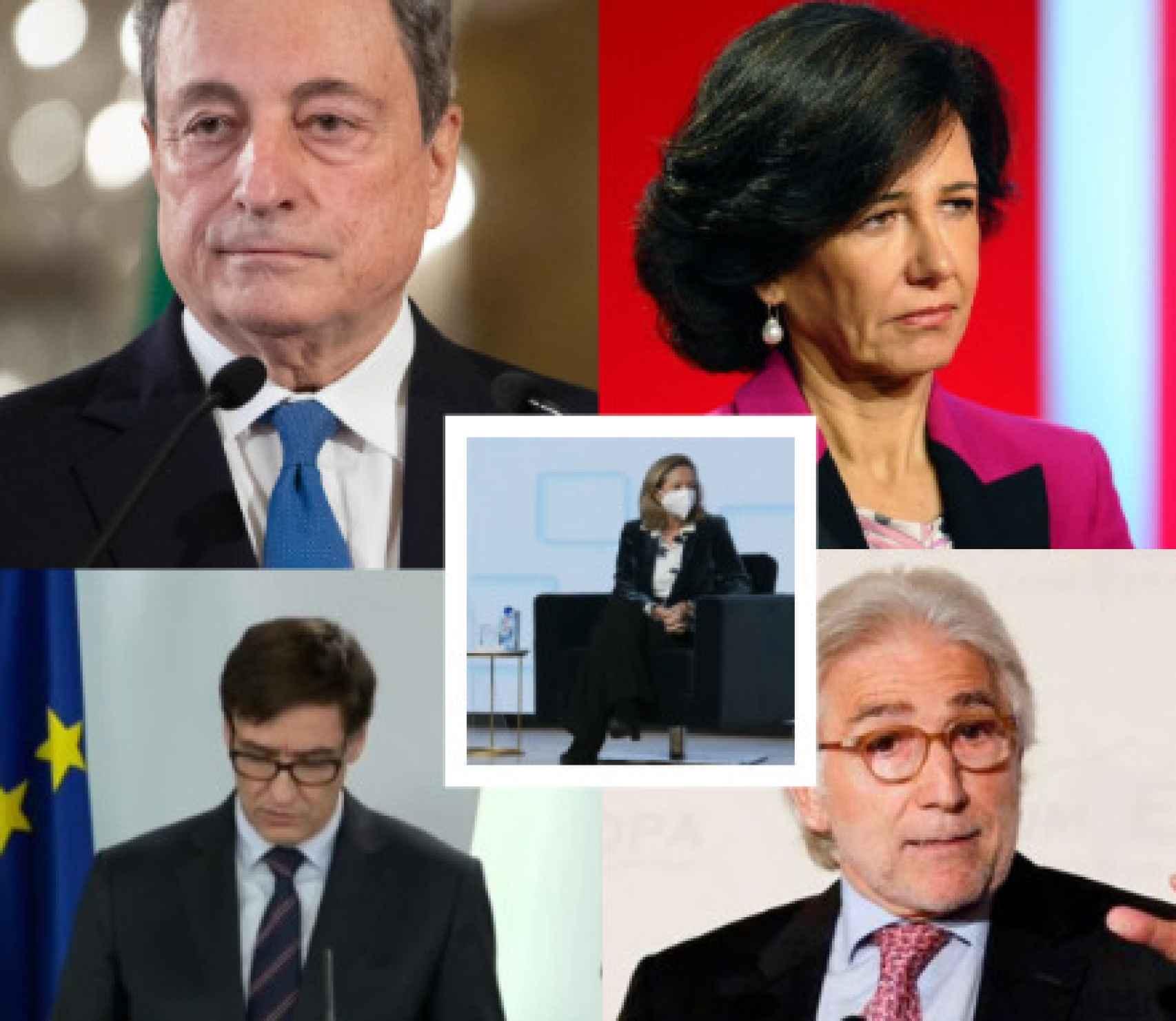 Mario Draghi, Ana Botín, Nadia Calviño, Salvador Illa, Josep Sánchez Llibre.