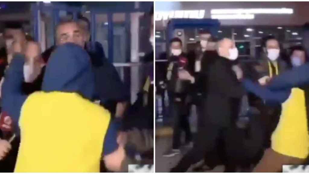 Un ultra del Fenerbahce ataca al vicepresidente del Galatasaray en directo y es noqueado
