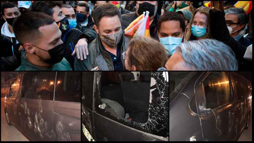 Santiago Abascal e Ignacio Garriga, en Hospitalet. Furgonetas de Vox destrozadas en Vic y Salt.